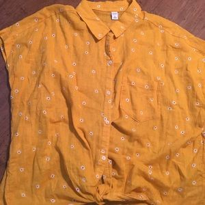 Old Navy Button Down Tie Front Shirt